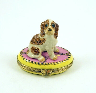New French Limoges Trinket Box Cocker Spaniel Dog Puppy On Pink & Yellow Box