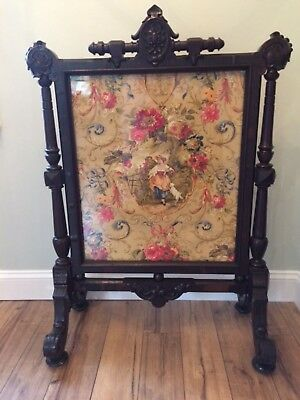 Antique Victorian Carved Walnut Ornate Fireplace Fire Screen Romantic Couple Dog