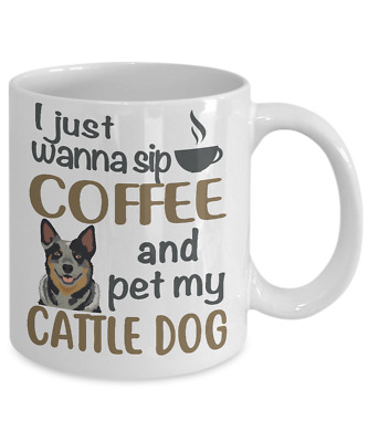 Sip Coffee With My Blue Heeler, Australian Cattle Dog White Coffee Mug
