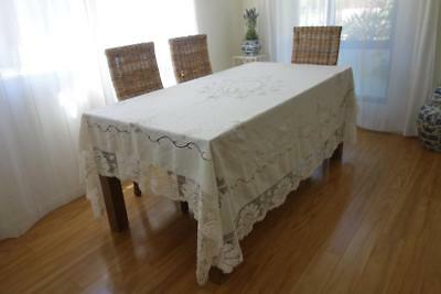 Superb Ivory Linen Intricate Hand Embroidery Vintage/Antique Tablecloth  *V
