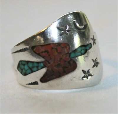 Vintage Tommy Singer Sterling Silver Turquoise Inlay Peyote Bird Ring Signed Stc