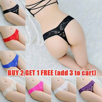 Sexy Women Lingerie Lace Floral Transparent Thongs Panties Underwear G-string