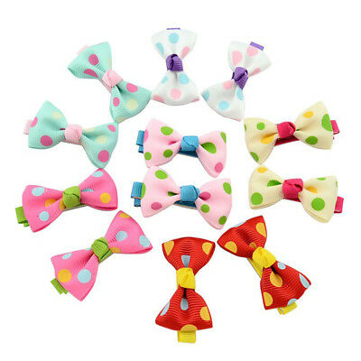10Pcs Colorful Girls Hair Clips Baby Kids Hair Pin Ribbon Bow Hair Accessories