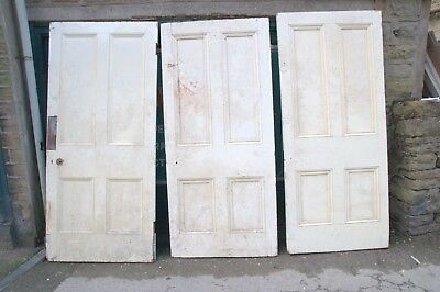 4069  Large thick and heavy old Victorian 4 panel doors-reclaimed