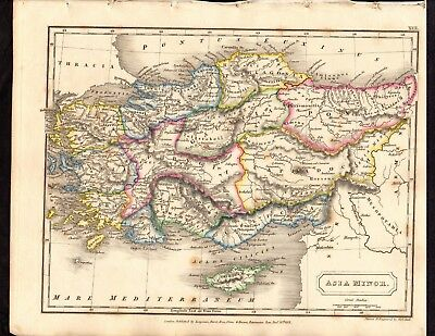 Map Of Asia Minor.Antique Map Asia Minor Engraved Handcoloured 1821 C200 Years Old