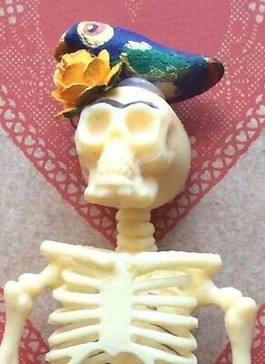 Halloween Frida skeleton handmade day of the dead macabie doll in coffin