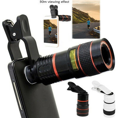 8X/12X Optical Zoom Len Telescope Telephoto Clip on For Mobile Cell Phone Camera