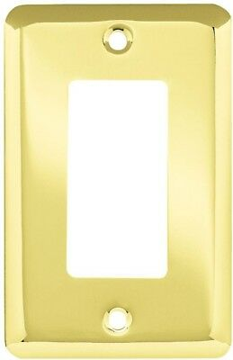 Liberty Stamped Polished Brass Round Decorative Single Rocker Switch Plate Cover