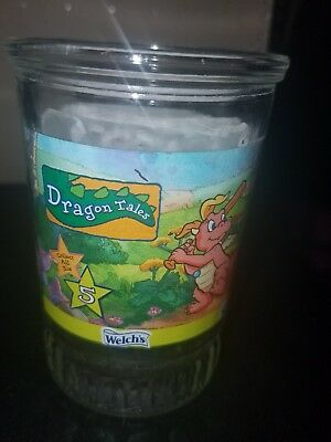 Welch's Jelly Jar Glass Dragon Tales #5 Catching Colors excellent