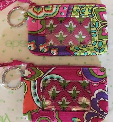 Vera Bradley Zip ID Pink Swirls Tags Unused Coin Card Keeper ID WINDOW Key Ring