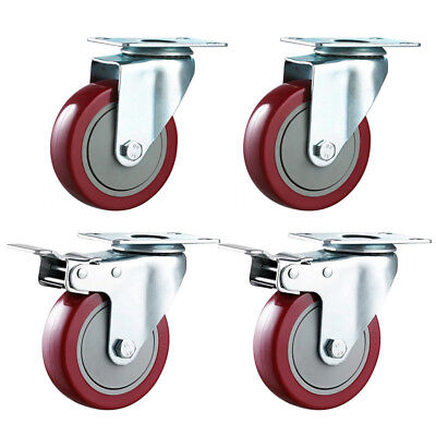 2/4pc Heavy Duty 100mm Rubber Swivel Castor Wheels Trolley Caster Brake UK Stock