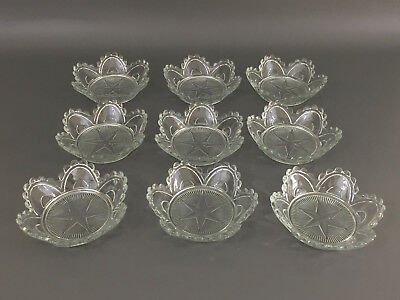 9 vintage clear pressed glass STAR salad bowls, Antique Reproduction from 1860's