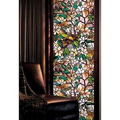 "Artscape Magnolia Window Films 24"" 36"" Style Stained Glass Window Panel Decor"