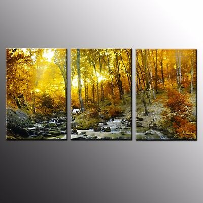 Landscape Wall Art Canvas Painting Gold Forest Giclee Photo Canvas Prints-3pcs