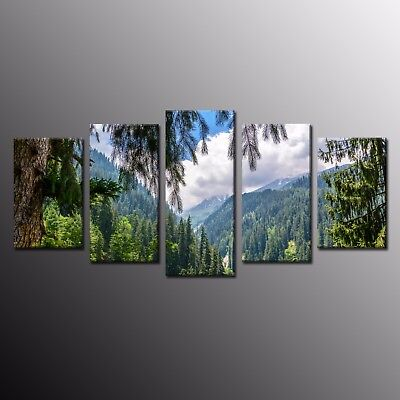 Large Canvas Art Print Landscape Green Forest Painting Home Wall Decor 5pcs