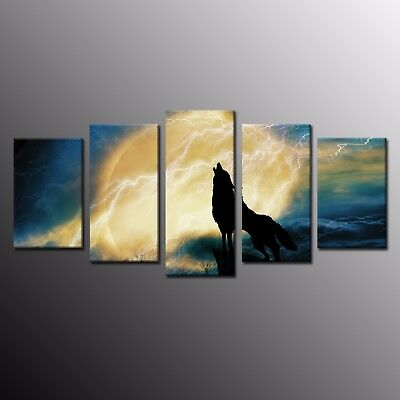 Howling Wolf Full Moon CANVAS PRINT Wall Decor Art Giclee Animals 5pcs