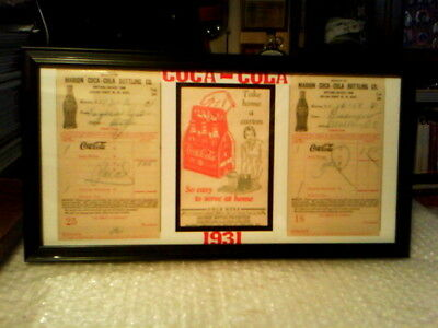 Coca - Cola Original Vintage 1930's Framed Memorabilia Display #2  - Excellent!