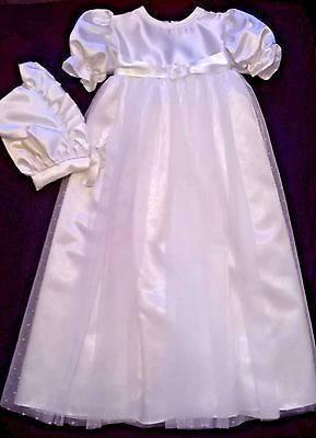 gorgeous ivory christening gown spot tulle skirt satin bodice + bonnet new