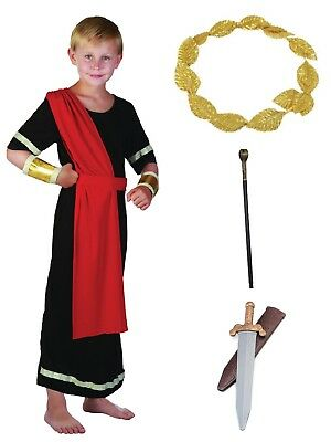 Boys Kids Roman Emperor Costume Ancient Greek Caesar Toga +Opt Accessories