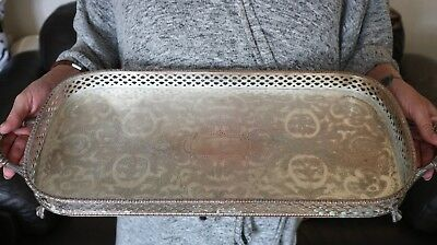 "Superb Large Silver Plated Gallery Rectangular Tray 18"" (46Cm) Long"