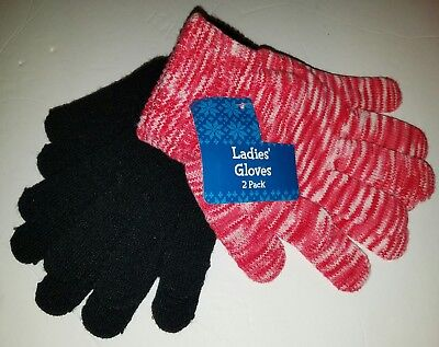 NWT WOMAN'S 2 PACK of LADIES GLOVES HOT PINK BLACK & WHITE KNIT
