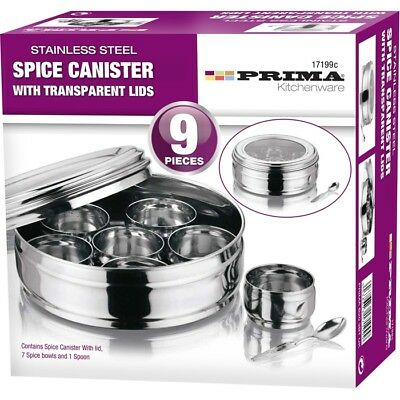 Stainless Steel 9Pc 20Cm Spice Herbs Masala Canister Box Storage Compartment 199