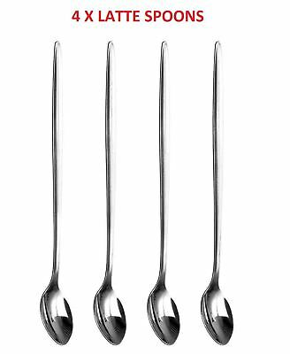 Shine 4 x Latte Spoons-Long Handle Stainless Steel Spoon Coffe,Deserts,Hot Drink