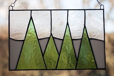 Christmas Trees Stained Glass Panel Suncatcher  Decoration