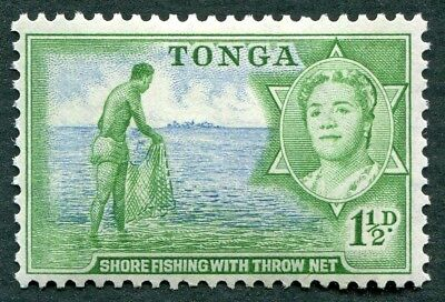 TONGA 1953 1 1/2d blue & emerald SG102 MH FG Shore fishing with throw-net a#W49