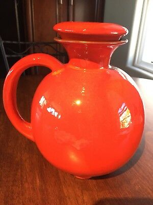 Vintage Frankoma Pottery #82 Rare Red Water Pitcher - Mint