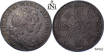 iNi  Great Britain, William and Mary, Halfcrown, 1693, QVINTO, VF-EF