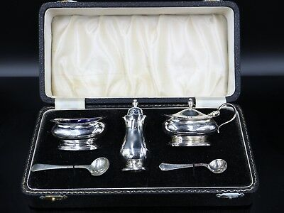 Quality Boxed Sterling Silver Three Piece Cruet Set with Spoons