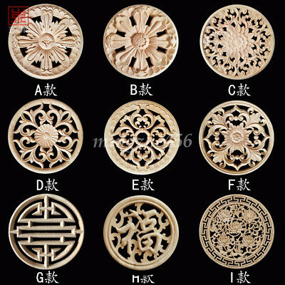 1x Unpainted Handwork Wood Carved Round Hollow Out Applique Onlay Furniture Door