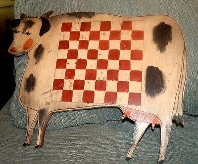 """Maine Estate Vintage c1940s Wooden Cow Wall Checkerboard Hand Painted 16"""" Across"""