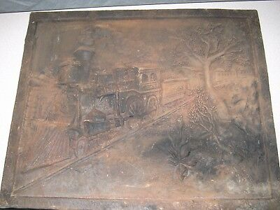 Antique Cast Iron Fire Place Back Panel Steam Locomotive-24x18 FREE SHIPPING!