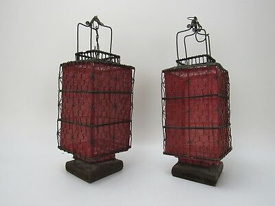 A Pair of Beautiful Chinese Antique Style Red Square Lanterns 13 '' High