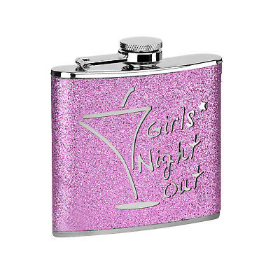 6oz Hip Flask Stainless Steel Pink Glitter Girls Night Out Party Hen Night Xmas