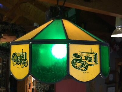 John Deere Tractor Tiffany Swag Stained Glass Light Shade Vintage