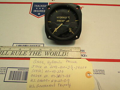 "Warbird Aircraft Hydraulic Pressure Gauge 0-5000 PSI -2 3/4"" Panel Mounting-"