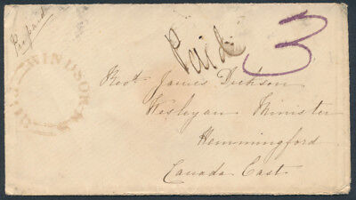 1853 Stampless Cover, Windsor NS to Hemmingford LC, Paid 3, Seven Backstamps