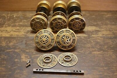 Antique Victorian Eastlake Mallory Wheeler Cast Bronze Door Knob Sets Rosettes