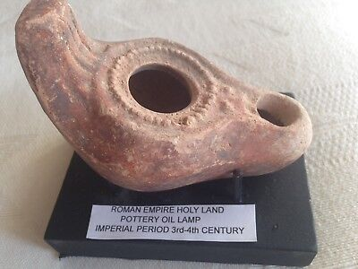 ROMAN HOLY LAND OIL LAMP w/ C.O.A.IMPERIAL PERIOD/ 50% OFF/ 200-300 A.D. & STAND
