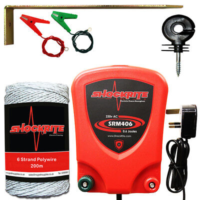 Electric Fence Energiser SRM406 0.6 Joule Mains Starter Kit White Poly Wire