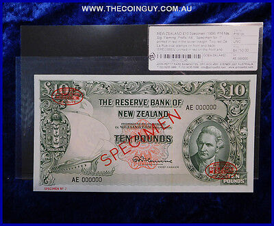 1956  New Zealand  Ten Pound Specimen Note No 7 Rare