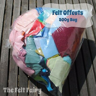FELT OFFCUTS - Large 500g Bag with great range of colours