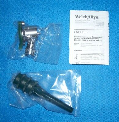 Welch Allyn Veterinary Pneumatic Otoscope Head With Reusable Ear Specula's; New