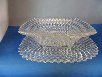 Vintage Anchor Hocking Miss America Crystal Square Fluted Bowl W/ Plate Unusual