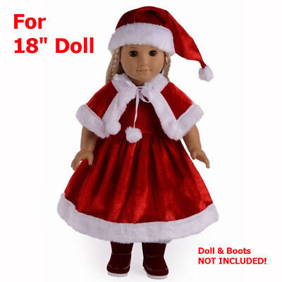 """American Girl Christmas Santa Dress Hat Cloak Red Winter Outfit For 18"""" Doll"""