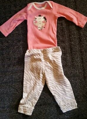 Gerber Baby Girl 2 Piece Top and Bottom Zebra Theme Outfit Size 3 to 6 Months