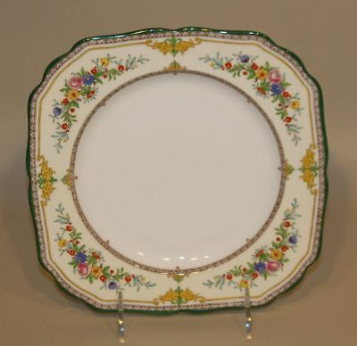 Minton England Stanwood Green Floral 8-1/2 Inch Square Salad Plate